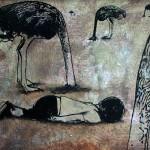 """""""la terra degli struzzi"""" 70x100 sabbiacrilico"""